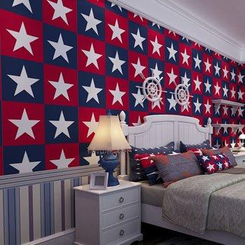 DUOCK Amerikanische Kinder Wallpaper Stars Non Woven bunte Wand Papierrolle Mädchen Schlafzimmer Kontakt Papier Boy Wallpaper für Wände, Blau Weiß Rot, 53 CM X 10 M (Boy Kontakt Papier)