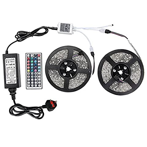 ZFLIN Led Strip Lights Kit SMD 5050 Waterproof 32.8 Ft (10M) 600leds RGB 60leds/m with 44key Ir Controller and Plug-in Power Supply for Pool, Car, Truck, Camper,Boat,Kichen Counter and More