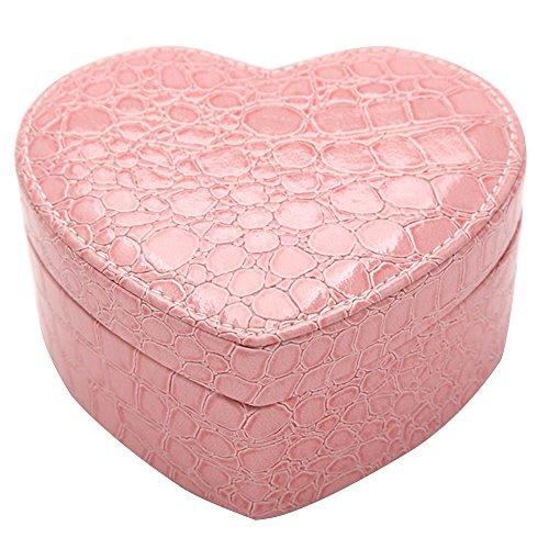 Contever® Elegante Gioielleria / caso di immagazzinaggio Organizzatore cassa della scatola Ecopelle con lo specchio - pink