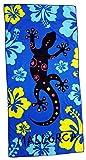 Ilkadim Strandtuch 70x140cm, Handtuch für Kinder und Erwachsene, Badetuch 100% Baumwolle (schwarz blau Gekko)