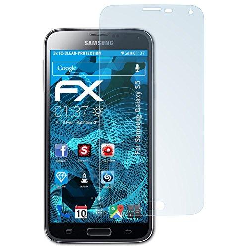 atFoliX Displayschutzfolie für Samsung Galaxy S5 Schutzfolie - 3 x FX-Clear kristallklare Folie (Samsung Wireless Link)