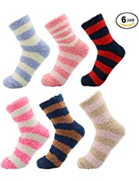 Cosy Winter Socks for Women Fluffy Super Soft Thermal Womens Loungewear Quality Slipper Bed Socks Pack of 6