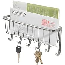 InterDesign York Lyra Colgador de pared para las llaves y el correo, guardallaves con 6 ganchos para colgar y cesta de metal, plateado