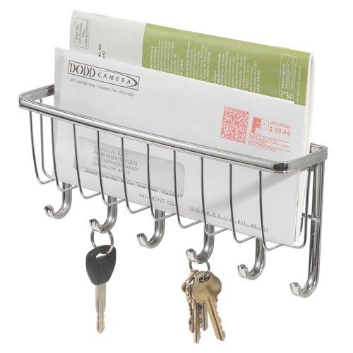 iDesign Briefablage, kleine Hakenleiste mit 6 Haken für Schlüssel aus Metall, Schlüsselbrett mit Ablage für Post und Notizen, silberfarben -