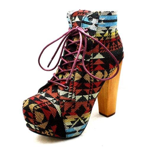 sendit4me Donna Zip Punta Quadrata Stivali Scarpa Tacco Alto Blocco Nuovo Aztec