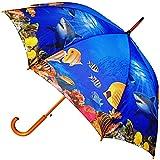 alles-meine GmbH Großer XL Regenschirm - AUTOMATIK -  Unterwasser - Fische / Korallenriff - Me..