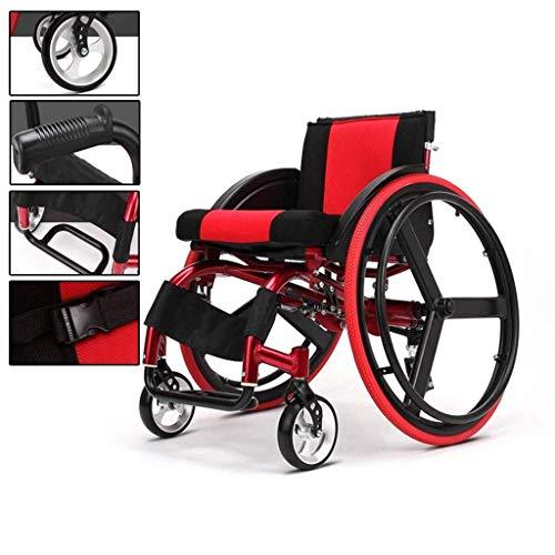 Wheelchair Sport-und Freizeit-Rollstühle, tragbarer Rollstuhl mit Anti-Heck-Kippvorrichtung-Aluminiumlegierungs-faltender Stoßdämpfer-Laufkatze für ältere und untaugliche -