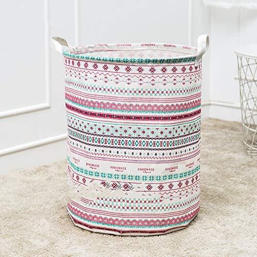 Großer Wäschekorb mit langlebigem Griff Wasserdichter, runder Aufbewahrungskorb aus Baumwollleinen (Mehrfarbig) F1 40X50cm -