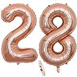 """2 Numero di Palloncini 28,Numero 28 Compleanno Decorazione Oro Rosa Ragazza,40"""" Palloncino a Foglio di Elio Gonfiabile,Happy Birthday Party Palloncino Gigante Prom Festa Party(XXXL 100cm)"""