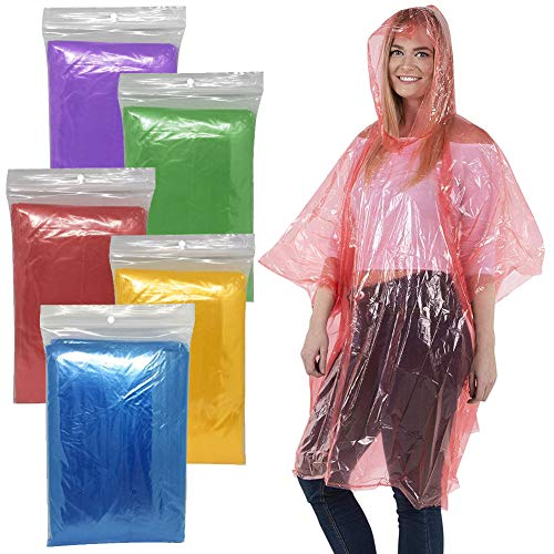 BESTZY Disposable Rain Poncho,6Pcs Rain Coat,Emergency Waterproof Poncho Raincoat,Reusable Raincoat with Hoods and Sleeves,Durable,Lightweight and Perfect for Outdoor Activities,Clear Raincoat