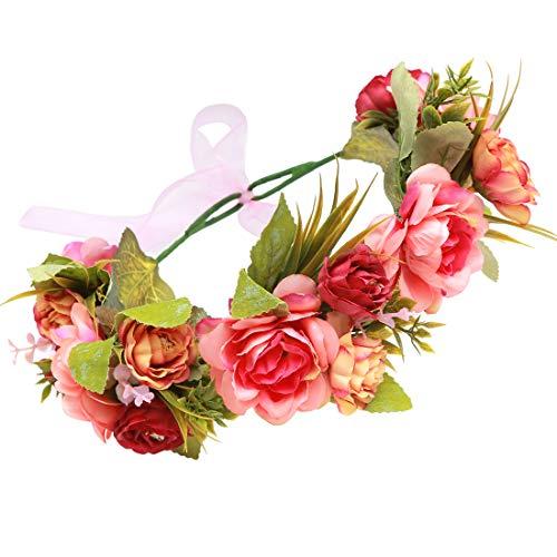 Blumenkranz für Haare in rot/rosa