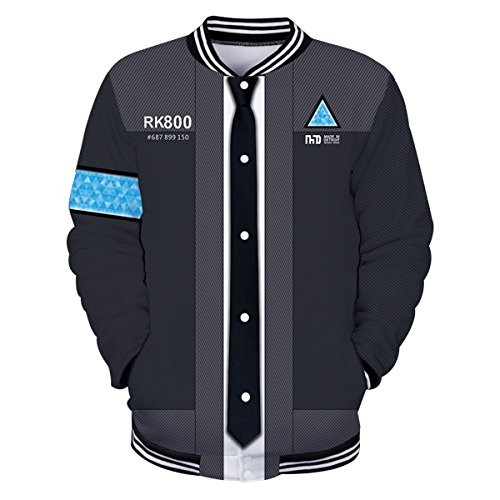 CTOOO 2018 Herren Become Human Detroit 3D Druck Sweatshirt Baseball-Uniform Schwarz XXS-XXXXL (Detroit Jacke)