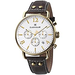 Thomas Earnshaw Men's Investigator Chronograph Quartz Watch with White Dial Analogue Display and Brown Leather Strap ES-8001-02