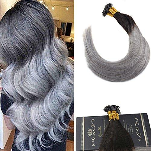 Ugeat flat tip cheratina brasiliana per capelli 16 pollici #1b/silver flat tip extension capelli grigi veri cheratina 50g 1g/meche