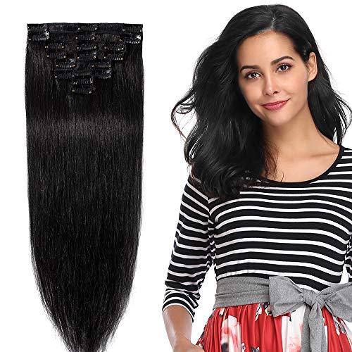 8pz 55cm 80g extension clips capelli veri umani lisci lunghi remy full head parrucca donna vari colori
