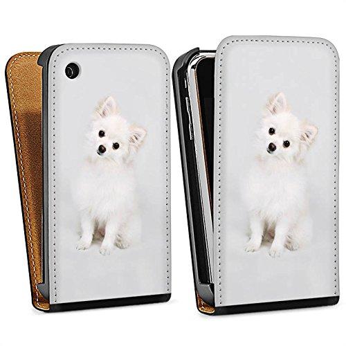 Apple iPhone 5 Housse étui coque protection Chien Chiot Chien Sac Downflip noir