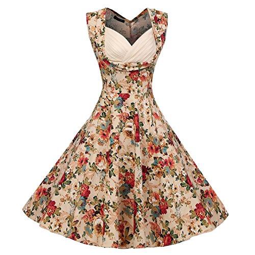 Acevog Vestidos Para Mujer Vintage Años 50 Casual Coctel Retro 1950'S Vestido de cóctel con Estampado de Flores