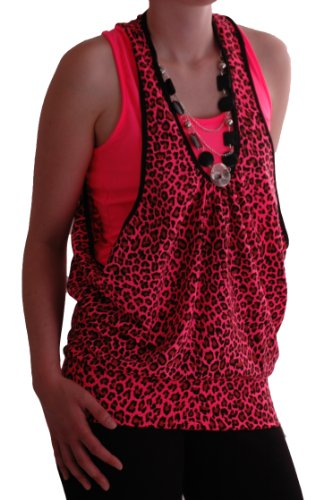 EyeCatch - Gia Animal Impression Néon Perlé Dames Tops Fuschia
