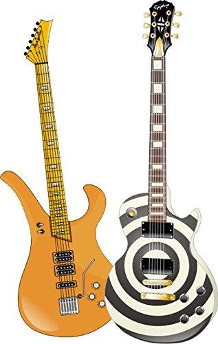 Indigos 4051719956160 Wandtattoo MD356 Rock-Gitarre 60 x 37 cm, bunt farbig (Indigo-blumen-rock)