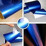 Autofolie Glanz Hochglanz Blau metallic 152cm breit BLASENFREI mit Luftkanäle 3D Flex Folie Auto