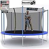 Kinetic Sports Outdoor Gartentrampolin Ø 400 cm, TPLH13, Komplettset inklusive Sprungtuch aus USA PP-Mesh +Sicherheitsnetz +Randabdeckung, bis 150kg, Intertek GS-geprüft, UV-beständig, BLAU