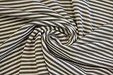 Hilco Viskosejersey Streifen khaki/weiss 0,5m