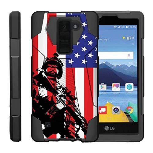 turtlearmor | Kompatibel für LG K8V Fall | LG K8V Fall | VS500[dynamisch Shell] Impact Proof Hard Ständer Hybrid Shock Silikon Cover Militär Krieg Armee Camo Design -, American Soldier -