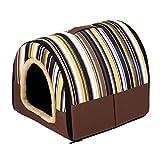 Qianle L,M,S Tragbar draußen Outdoor Hundehöhle Hundebett Hundehütte Katzenbett im Form von Hause Streifen-M