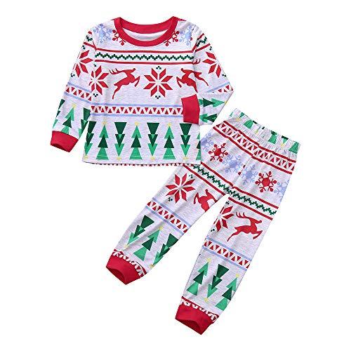 Togelei Kinder Weihnachten Set Kleinkind Boys Long Sleeves Schnee Deer Print Tops + Pants Weihnachts Kleidung Set Unisex Pullover O-Neck...