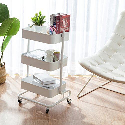CORNERIA Elegant White Adjustable Rolling Utility Cart - 3 Tier Shelves of Versatile Mobile Storage Organization Cart
