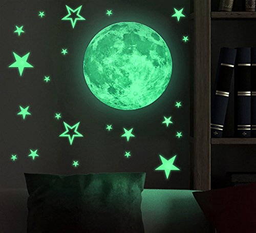 Wapoo Kinder Abnehmbarer Mond Sterne Glow in The Dark Aufkleber Nacht Luminous Zimmer Wand Aufkleber Aufkleber 30cm Moon + 26pcs Stars (Dark-wand-aufkleber The Glow In)