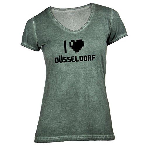 Damen T-Shirt V-Ausschnitt - I Love Düsseldorf - Deutschland Reisen Herz Heart Pixel Olive