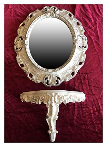 SET Weiß Silber Wandspiegel + Konsole M OVAL Wandkonsole Barock Antik 44x38 Flur Eingangsmöbel Möbel Konsole Ablage Spiegel Wandregal - Konsole Wandspiegel