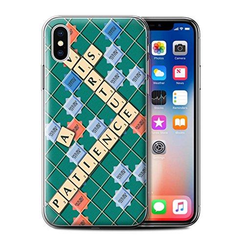 Stuff4 Gel TPU Hülle / Case für Apple iPhone X/10 / Kennen Muster / Scrabble Worte Kollektion Geduld Tugend
