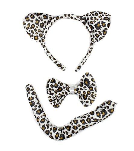 petitebelle beige leopard Stirnband Schleife Schwanz 3-teiliges Halloween-Kostüm kostenlos Größe Gr. One size, - Kostüm Schule Zubehör Halloween Mädchen