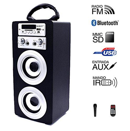 Altavoz Portátil con Bluetooth USB SD Batería Micrófono voz (NEGRO)