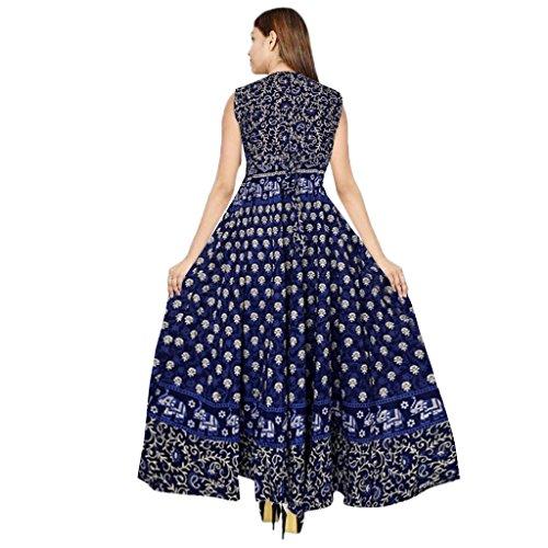 36% OFF on VAASTRA Women s One Piece Long Dress Jaipuri Print Cotton ... 95cea5ab7d