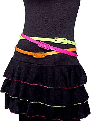 German Trendseller® - 80er Jahre Neon Gürtel ┃ 3er Set ┃ Grün , Pink , Orange ┃ Blickfang