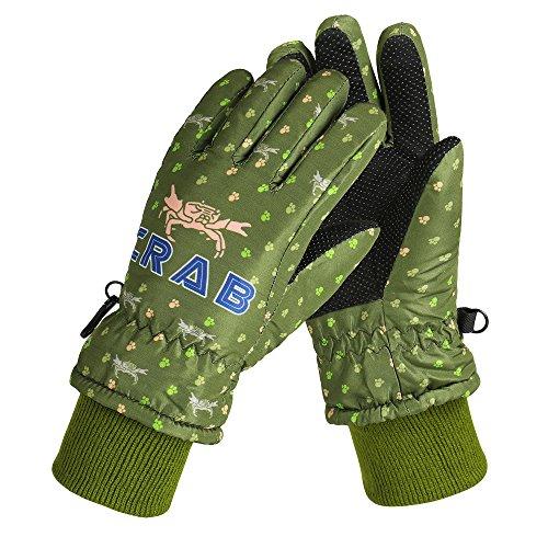 QH Winter Kinder Ski Handschuhe Jungen und Mädchen im Freien Warme Handschuhe Plus Samt Dick Wasserdicht,B,4