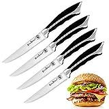 ROSMARINO Allzweckmesser, Küchenmesser, Kochmesser - Set 4 Stücke mit 12 cm Klinge aus Hochwertige Edelstahl - Extra scharfer Wellenschliff