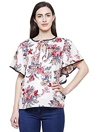 70391c916df ... FLICKZON Women White Flower Printed Butterfly Sleeve Western wear top  with Plus Size