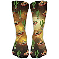pigyear888 Mexican Sombrero Hat Cactus Pattern Unisex Novelty Crew Socks Ankle Dress Socks Fits Shoe Size 6-10