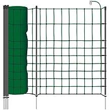 Malla eléctrica para perros, gatos, rollo de 50m de longitud y 65cm de altura, 15 postes sencillos y kit de reparación, color verde