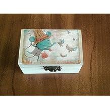 Caja dientes ,Caja Ratoncito perez para guardar los dientes,color blanco con dibujo en la tapa.