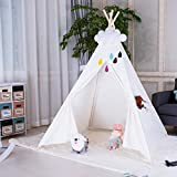 Triclicks Kids Teepee Play Tent - Indian Children Tipi Play House - 100% Cotton Canvas Princess Girls Tent for Indoor and Outdoor