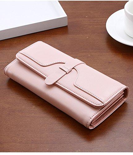 CLOTHES- Portafoglio Lady Long Retro Tri Pieghe a grande capacità Multi-Card Bit Semplice Harajuku Personality Student Wallet ( Colore : Verde ) Rosa