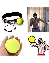hunpta bola de espuma de poliuretano lucha con banda para la cabeza para Reflex Entrenamiento de velocidad boxeo boxeo ejercicio, amarillo