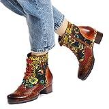Camfosy Damen Leder Stiefeletten,2018 Winter Herbst Mitte Ferse Schuhe Bequeme Lady Short Western Booties Spitze mit Handgemachten Gestickten Muster Seitlicher Reißverschluss,braun ro