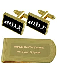 Evolution Ape To Man Secret Agent Gold-tone Cufflinks Money Clip Engraved Gift Set