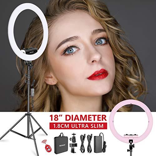 Neewer Ring Licht Set [Verbesserte Version 1,8cm Ultra schlank] 18 Zoll, 3200-5600K, dimmbare LED-Ringlicht mit Lichtständer, drehbarer Telefonklammer, Hot Shoe Adapter (Rosa) Video Gesicht